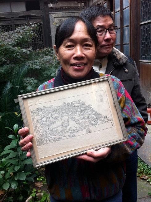The owner with a drawing from her father who re-organised Yu Garden (Yu Yuan), probably the only historic site to see in Shanghai